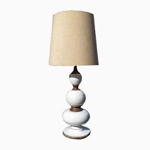 Italian Ceramic Floor Lamp with Original Linen Shade by Ugo Zaccagnini, 1960s
