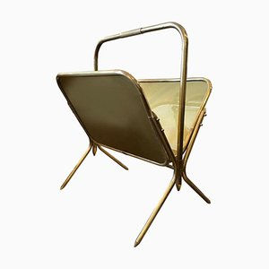 Italian Solid Brass Magazine Rack, 1950s