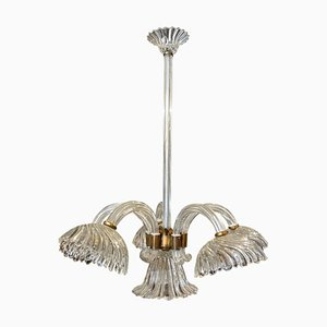 Murano Glass and Brass Chandelier from Barovier & Toso, 1950s