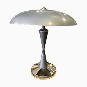 Italian Art Deco Blue Metal Table Lamp, 1930s