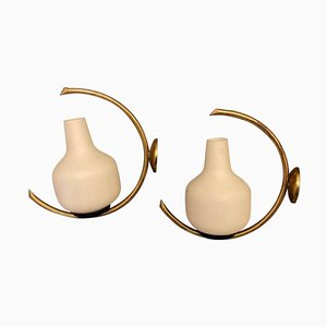 Italian Mid-Century Modern Brass & Glass Sconces from Arredoluce, 1950s, Set of 2