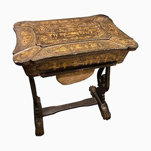 Antique English Wood Sewing Table, 1850s