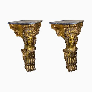 Antique Italian Hand Carved Wood Console Tables, 1900s, Set of 2