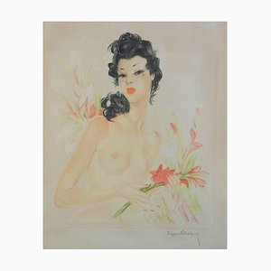 French Lithograph, Eugene Leliepvre, Nude of Domergue, 1920s