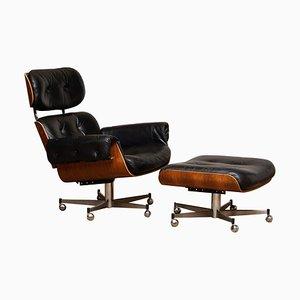 Poltrona reclinabile con ottomana di Martin Stoll per Giroflex, anni '60, set di 2