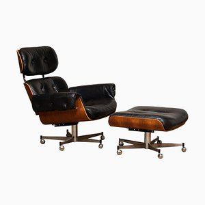 Recliner / Swivel Chair and Ottoman by Martin Stoll for Giroflex, 1960s, Set of 2