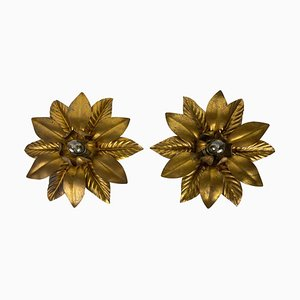 Golden Florentine Flower Shape Flush Mounts from Banci, Italy, 1970s, Set of 2