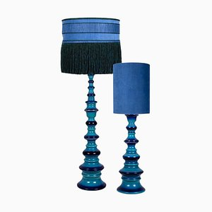 Große Keramiklampen mit neuen maßgeschneiderten Lampenschirmen aus Seide von René Houben, 2er Set