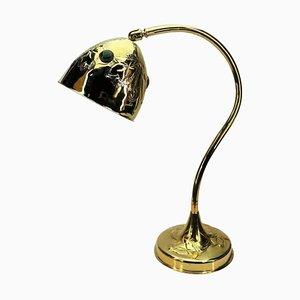 Jugendstil Messing Tischlampe mit Glas Cabochons, 1910