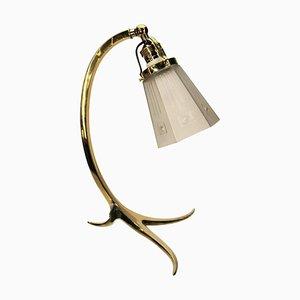 Messing und Milchglas Lampen Tischlampe, 1910