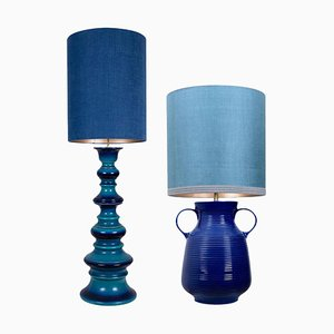 Large Table Lamps with New Silk Custom Made Lampshade by René Houben, 1960s, Set of 2