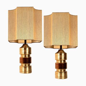 Bitossi Lamps from Bergboms with Custom Made Shades by Rene Houben, Set of 2