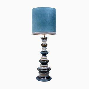 Große Keramik Stehlampe mit Neusilber Lampenschirm von René Houben, 1960er