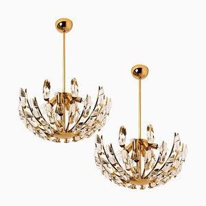 Italienische Kristall und Vergoldete Messing Leuchten von Stilkronen, 2er Set