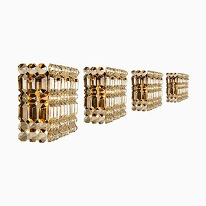 Gilt Brass Metal Crystal Glass Sconces from Kinkeldey, 1970s