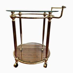 Italian Bar Cart with Golden Frame in Brass & Wheels