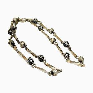 Skandinavische Silberkette mit Perlen, 1960er