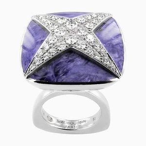 Mauboustin Ring aus 18 Karat Weißgold mit Jute in Diamant mit 1,00 ct