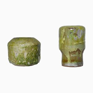 Green Stoneware Vases by Ole Bjørn Krüger, 1960s, Set of 2
