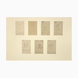 Unknown, Studies of Figures, Pencil Drawing, Late 19th-Century