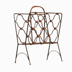 Cast Iron and Leather Magazine Rack by Jacques Adnet