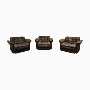 Vintage Leather DS11 Armchairs by De Sede, 1970s, Set of 3