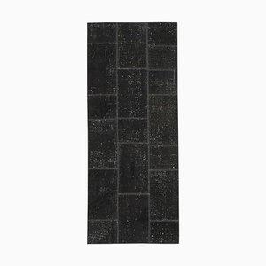 Black Patchwork Runner Rug