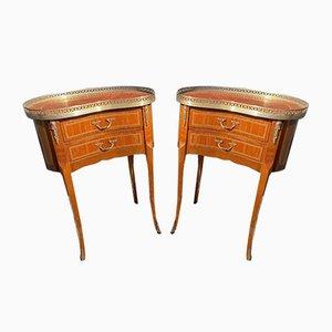 Antike Französische Schlafzimmer Nachttisch Intarsie Tische, 2er Set