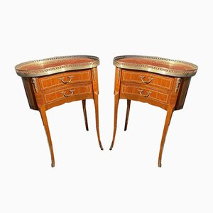 Antique French Bedroom Bedside Marquetry Tables, Set of 2