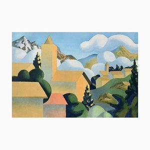 Litografia colorata di Salvo (Salvatore Mangione), Snowing, 2000
