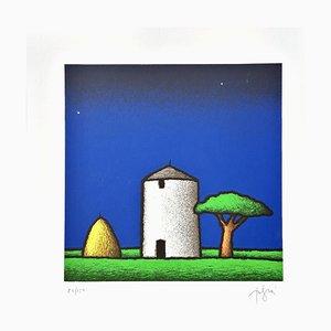 Tino Stefanoni, Silos and Pine, Colored Screenprint
