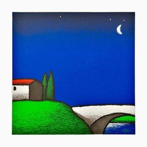 Colored Screenprint, Tino Stefanoni, Moon on the Bridge, 2000