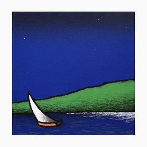 Colored Screenprint, Tino Stefanoni, Boat to the Lake, 2000