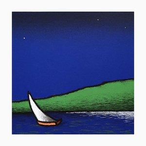 Farbiger Siebdruck, Tino Stefanoni, Boat to the Lake, 2000
