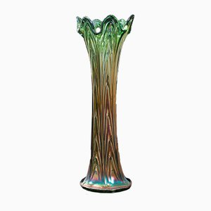 English Fluted Carnival Glass Vase, 1930s
