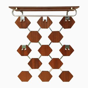 Vintage Aluminum & Rosewood Honeycomb Rack, 1970s