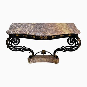 Wrought Iron & Marble Console Table, 1940s