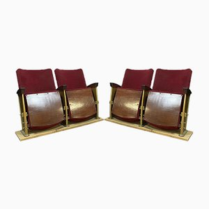 Goldene Metall Chaise Lounges, 1950er, 2er Set