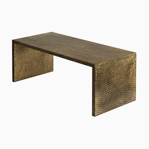 Brass on Oak Trama Coffee Table by Francesco Perini