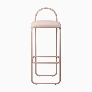 Sedia da bar minimalista in velluto rosa