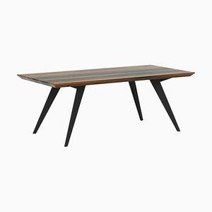 Minimalistischer Esstisch aus Nussholz & Stahl 160