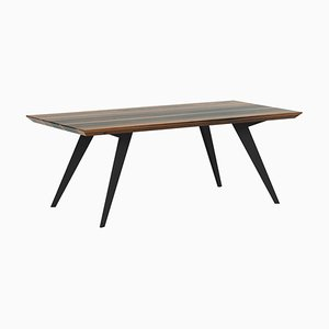 Walnut and Steel Minimalist 160 Dining Table
