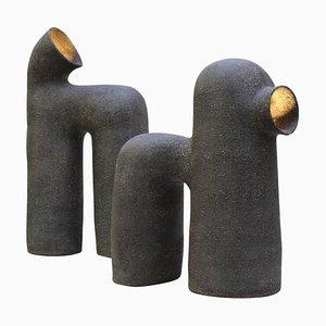 Lámparas de mesa de gres en negro de Elisa Uberti. Juego de 2
