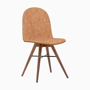 Walnut and Cork Fabric Chair by Alexandre Caldas