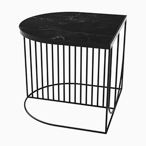 Black Marble and Steel Side Table
