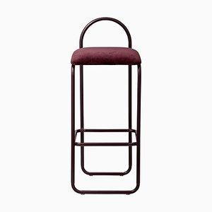 Silla de bar minimalista de terciopelo burdeos