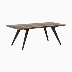 Tavolo da pranzo 250 minimalista in noce e acciaio