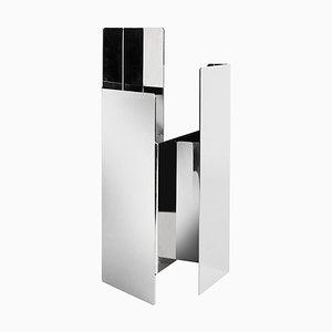 Polierte weiße Fugit Vase aus Nickel von Matteo Fiorini