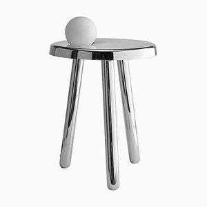 Small Alby Polished White Nickel Table with Lamp by Matteo Fiorini
