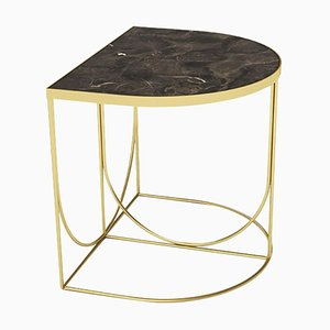 Minimalist Side Table in Brown Marble and Gold Steel